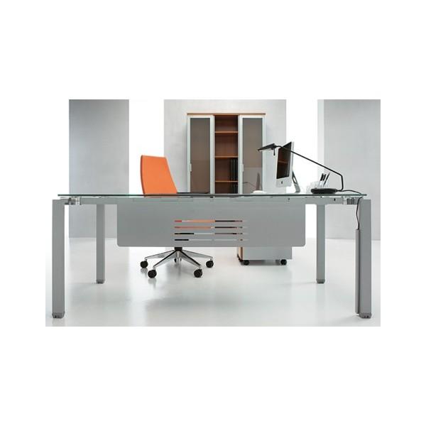 Mesa mod kompac cristal mobiliario de oficina nuevo y for Mesa cristal oficina