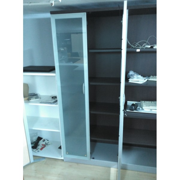 Armario alto con puertas de cristal mobiliario de oficina nuevo y usado en madrid - Armario con puertas de cristal ...